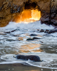 Sun, Wind & Water (Rod Heywood) Tags: bigsur bigsurcoast coast ocean waves beach surf basicelements orange portal tunnel keyhole pfeifferbeach wind winter iconic scenic rock fire furnace