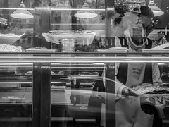 Today's:Cakes (BazM:Photog.......:-)) Tags: cake bake patisserie panadero baker shop shopfront window reflection bazmatthews blackwhite bw blancoynegro girona espana spain spanish