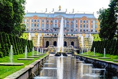 "Palace, using HDR 'painterly"" (DSLEWIS) Tags: russia russians russianpeople people peterhof petrodvorets stpetersburg hollandamerica cruise koningsdam baltic balticcruise hdr"