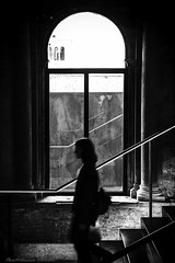 Step by Step ... (it was taken through a window in Misericordia - Venice) (alessandrafinocchiaro67) Tags: monocromatico monochrome blackwhite blackandwhiteperfection indoor portraitwoman venice venedig venezia venecia nikond750
