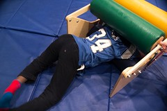 Girl Hugging Squeeze Machine Occupational Therapy Gym BRAINS Grand Rapids January 21, 2016 19 (stevendepolo) Tags: brains grandrapids occupationaltherapy hugging squeeze machine training core gym learningdisability lourdie