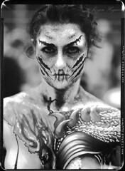 Maskerade 2016 /1 (Jürgen Hegner) Tags: largeformat schwarzweis jürgenhegner nikkorw240 portrait analog shenhaofcl57a shenhao fuji xrayfilm xray 13x18cm 13x18 blackandwhite bw negativescan