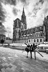 Cathdrale Notre-Dame, Strasbourg, France (Etienne Ehret) Tags: cathdrale notredame strasbourg alsace france noirblanc noir blanc bw black white street rue canon 5d mark iii 14mm samyang f28