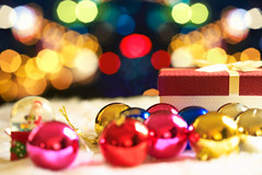 Red Christmas gift box and bokeh on background (Krunja) Tags: background balls baubles birthday blur blurred bokehnobody bow box bright celebrate christmas colorful copy copyspace december decor decorate decoration decorative defocused festive gift gold golden holiday horizontal lights magical new ornament paper party present round season seasonal shining soft space winter xmas year yellow