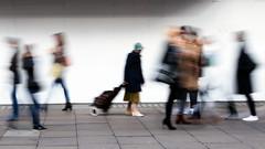Woman with Shopping Trolley (stevedexteruk) Tags: london street scene blur blury slowshutter oxfordstreet shopping trolley woman people uk 2016
