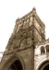 Prague Powder Tower (2 of 3) (jimsawthat) Tags: sepia urban prague czechrepublic citygate historic architecture architecturaldetails gothic