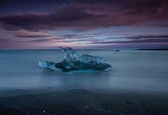 Ice Block (Marshall Ward) Tags: jkulsrln iceland icebergs ice icebeach marshallward mwardphotographycom midnightsun roadtrip nikond800 afszoomnikkor2470mmf28ged beach nightshot seascape 2014
