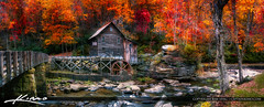 Grist Mill West Virginia at Babcock State Park (Captain Kimo) Tags: aurorahdr2017 babcockstatepark captainkimo clifftop fallcolors gladecreek gristmill hdrphotography watermill westvirginia