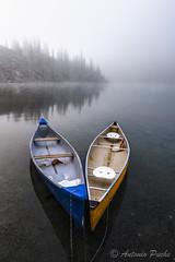 V (Antonio Puche) Tags: antoniopuche paisaje landscape lake lago canada banff morainelake canoas v nikon nikond800 nikon173528 niebla fog