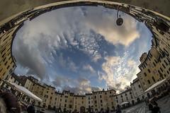 """...finalmente ""un'apertura""..."" - Piazza Anfiteatro - Lucca (G.hostbuster (Gigi)) Tags: lucca piazzaanfiteatro sky perspective fisheye clouds ghostbuster"
