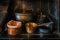 Pots and Pans (Sh4un65_Artistry) Tags: artwork digitalart digitalpainting ironworkmetalwork kitchenalia nationaltrust painteffect paintedphoto painterly places stilllife textured topaz topazimpression topaztextureeffects wightwick manor