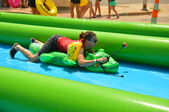 Between riding an alligator and taking a selfie, it was complicated (radargeek) Tags: slidethecity okc oklahomacity waterslide 2016 sunglasses alligator cellphone