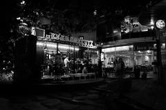 Never Say Cutz - Thong Lo, Bangkok (jcbkk1956) Tags: night portacabin cafe 18mmf2 xt1 fuji blackandwhite monochrome hairdressers mall jave street thailand bangkok container worldtrekker