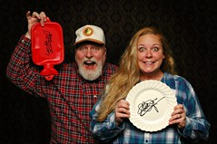 Kim was quite proud of her Christina Aguilera autographed plate until I produced my Keith Richards autographed hot water bottle. (Studio d'Xavier) Tags: werehere platesyoulove autographs christinaaguilera keithrichards plate hotwaterbottle 365 december52016 341366