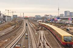 Train Tracks (sterreich_ungern) Tags: alex gleisbett warschauer strase berlin kreuzberg friedrichshain mitte epic exposure s bahn tv tower cranes sky germany constrction