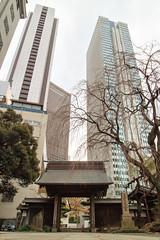 A Temple Gate in Front of the Skyscrapers (Shinichiro Hamazaki) Tags: temple templegate tokyo japan shinjuku skyscraper       nishishinjuku