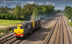 DRS Class 20/3's No's 20305 & 20308 at Tupton on 27-08-2015 with a York to Crewe light engine move (kevaruka) Tags: summer england sun color colour colors sunshine composition train canon flickr colours derbyshire transport rail railway sunny august trains 5d locomotive frontpage britishrail chesterfield sunnyday choppers 20305 2015 drs networkrail class20 ef100400l directrailservices tupton 20308 canon5dmk3 5dmk3 5d3 5diii thephotographyblog canon70200f28ismk2 canoneos5dmk3 tuptonbridge