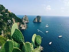 Faraglioni Capri #CheBamboloTour  (Alejandro Muiz Delgado) Tags: summer cliff beach square boats capri italia squareformat iphoneography instagramapp uploaded:by=instagram