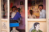 Barbershop. Badami, India (Marji Lang Photography) Tags: life travel windows portrait people india man color men green window colors composition work photography colorful indian streetphotography documentary barbershop shaving barber shave parlour through karnataka inde badami southindia travelphotography indianpeople 2013 marjilang