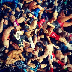 Wrestlemania (Joe Shlabotnik) Tags: cameraphone toys wrestling figurines wrestlers faved 2015 instagram galaxys5 september2015