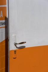 (Kirill Dorokhov) Tags: door city urban orange white texture handle paint day open lock minimal clear textures miksang almaty        almatykazakhstan kirilldorokhov