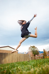 Touching the clouds (Flickr_Rick) Tags: autumn woman girl outside jump jumping jamie legs jumpology