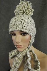 The Patapouf Hat (UniquelyEwe) Tags: winter woman wool hat beige women warm crochet ecru earflaps dashndazzle uniquelyewe