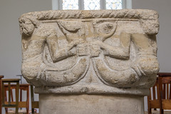 Mermen Font, Cambridge (Ken Barley) Tags: cambridge stpeters church font mermen