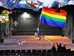 Catch Photo #30G (gaymay) Tags: california gay sky mountain snow love happy robot flying rainbow bowser desert stage flag jerry palmsprings mario superman donkeykong rainbowflag skydiver auditorium jetpack triad supergay darek trapezeartist mysterysciencetheater3000 catchphoto