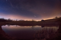 International Space Station over Calhoun County Park (reflectioninapool) Tags: longexposure sky lake color reflection building abandoned nature water horizontal night clouds dark stars landscape outdoors us pond unitedstates calhoun space country nobody westvirginia astrophotography astronomy rectangle iss grantsville internationalspacestation calhouncountypark