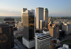 Downtown Tulsa Skyline (dsjeffries) Tags: tulsa bankofamericabuilding williamstower bankofamericatower boktower philtower downtowntulsa midcontinenttower firstplacetower thompsonbuilding oneokbuilding petroleumclubbuilding