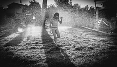 Long cast shadows, early morning, sprinklers turned on unexpectedly, can't help but fall in love (lermaniac) Tags: sprinkler  bnw girl water wet