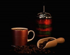 coffee - dark and strong (Jeanni) Tags: coffee internationalcoffeeday cup mug cafetiere jug beans dark roast roasted scoop wooden aroma food drink caffeine golden red green gold china glass hot autumn colours autumnal