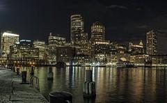 Boston Nightscape (davelemi) Tags: boston massachusetts nightscape olympus omd em1 seaport harbor