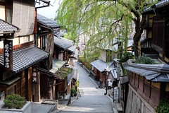 Before The Crowds (Douguerreotype) Tags: street city shop buildings steps kyoto tree japan sign