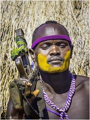 Mursi Tribe Warrior (Luc V. de Zeeuw) Tags: ethiopia kalashnikov mun mursi omo omovalley tribe warrior southernnationsnationalitiesandpeoplesregion
