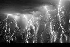 Barrage II (Mike Olbinski Photography) Tags: 20160818 canon5dmarkiii arizona blackwhite canon50mm12l lightning monsoon rain sunvalleyroad thunderstorm