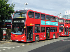 GAL E44 - LX56ETK - NORTH GREENWICH STATION - MON 12TH SEPT 2016 (Bexleybus) Tags: go ahead goahead london north greenwich station bus adl dennis enviro 400 e44 lx56etk tfl route 132
