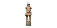 Haniwa warrior in keiko armor against white