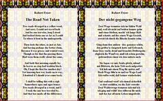 Robert Frost:  The Road not taken  => Der nicht gegangene Weg (Uebersetzung) (Walter A. Aue) Tags: robertfrost theroadnottaken poem literature walteraaue translation screenshot