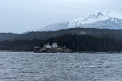 Dawn aboard LeConte going around Pt. Retreat (Gillfoto) Tags: lighthouse pointretreatlighthouse alaska juneau mountains snowcappedmountains snowcappedpeaks insidepassage admiraltyisland