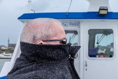 Wimp! (Ruth Flickr) Tags: batz brittany enezvaz finistère france roscoff spring stewart boat coast coat cold funny sea îledebatz bretagne fr
