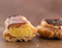 Eclair. (annick vanderschelden) Tags: french baking chocolat choux cooking cream crèmepâtissière cuisine culinary custard dough filled food gastronomy pastry topped whippedcream éclair