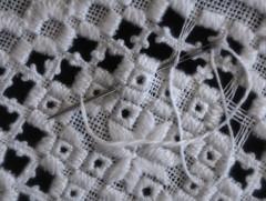 A Work in Progress (Hardanger Stitch) (Anne Worner) Tags: anneworner dmcthread em5 efex4 hardangerstitch hardangersm macromondays broderi brodering closeup embroidery embroideryneedle geometric handmade inprogress linen macro needle olympus picot squares stars staver stitch stitches sying thread white