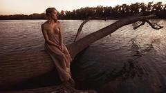 Adrift (SkylerBrown) Tags: woman nature water girl beautiful fashion river gold evening pretty dress calm blonde sacramentoriver isabelchapman