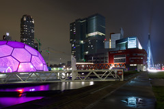 Ratjetoe (zsnajorrah) Tags: longexposure bridge urban reflection water netherlands rain architecture night skyscraper rotterdam theater text neworleans pavilion montevideo kopvanzuid erasmusbrug derotterdam torenopzuid rijnhaven nieuweluxortheater drijvendpaviljoen 7dmarkii tillemakade ef1635mmf4l