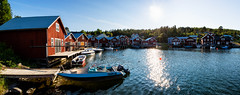 Bönhamn, High Coast, July 5, 2015 (Ulf Bodin) Tags: roof summer panorama landscape se coast pattern sweden harbour outdoor sverige boathouse tak norrland högakusten bönhamn ångermanland västernorrlandslän fiskeläge canoneosm3 canonefm11224556isstm