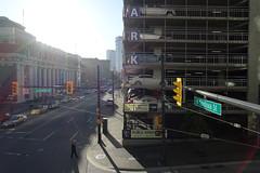 Granville & W. Cordova (Blinking Charlie) Tags: street urban canada trafficlights vancouver parkinggarage britishcolumbia lensflare trafficsignal granvillestreet waterfrontstation pedestrianoverpass wcordovastreet blinkingcharlie sonydscrx100m3