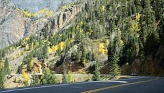 DSC7517 (prietke) Tags: road autumn trees mountains rock clouds truck landscape highway colorado unitedstates co skyway milliondollarhighway route550 sanjuanskyway ouraycounty