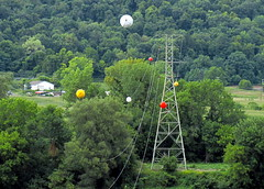 powerball! (Hank Rogers) Tags: tower colors electric danger warning funny power pennsylvania aircraft humor utility line foliage pa sphere wires round electricity marker ppl visible transmission visibility powerball